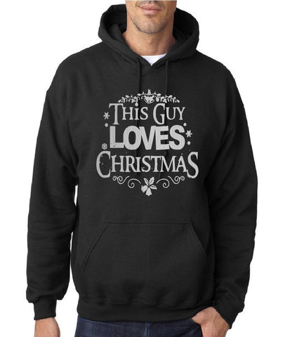 "Happy Christmas This Guy Loves Christmas Men Hoodies Silver-Hoodies-Gildan-Black-S To Fit Chest 36-38"" (91-96cm)-Daataadirect"