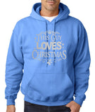 "Happy Christmas This Guy Loves Christmas Men Hoodies Silver-Hoodies-Gildan-Carolina Blue-S To Fit Chest 36-38"" (91-96cm)-Daataadirect"