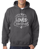 "Happy Christmas This Guy Loves Christmas Men Hoodies Silver-Hoodies-Gildan-Charcoal-S To Fit Chest 36-38"" (91-96cm)-Daataadirect"