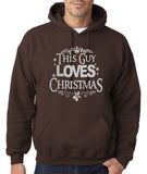 "Happy Christmas This Guy Loves Christmas Men Hoodies Silver-Hoodies-Gildan-Dk Chocolate-S To Fit Chest 36-38"" (91-96cm)-Daataadirect"
