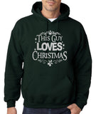 "Happy Christmas This Guy Loves Christmas Men Hoodies Silver-Hoodies-Gildan-Forest Green-S To Fit Chest 36-38"" (91-96cm)-Daataadirect"