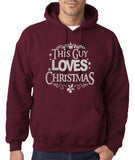"Happy Christmas This Guy Loves Christmas Men Hoodies Silver-Hoodies-Gildan-Garmet-S To Fit Chest 36-38"" (91-96cm)-Daataadirect"