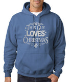"Happy Christmas This Guy Loves Christmas Men Hoodies Silver-Hoodies-Gildan-Indigo Blue-S To Fit Chest 36-38"" (91-96cm)-Daataadirect"