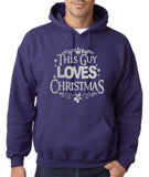 "Happy Christmas This Guy Loves Christmas Men Hoodies Silver-Hoodies-Gildan-Purple-S To Fit Chest 36-38"" (91-96cm)-Daataadirect"