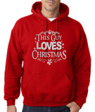 "Happy Christmas This Guy Loves Christmas Men Hoodies Silver-Hoodies-Gildan-Red-S To Fit Chest 36-38"" (91-96cm)-Daataadirect"