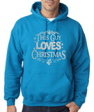 "Happy Christmas This Guy Loves Christmas Men Hoodies Silver-Hoodies-Gildan-Sapphire-S To Fit Chest 36-38"" (91-96cm)-Daataadirect"