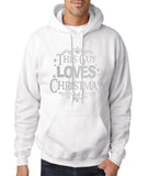 "Happy Christmas This Guy Loves Christmas Men Hoodies Silver-Hoodies-Gildan-White-S To Fit Chest 36-38"" (91-96cm)-Daataadirect"