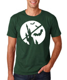 "[daataadirect.co.uk]-Happy Halloween Bat Men T Shirts-T Shirts-Gildan-Forest Green-S To Fit Chest 36-38"" (91-96cm)-Daataadirect"