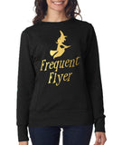 "Happy Halloween frequent flyer Womens SweatShirt Gold-SweatShirts-ANVIL-Black-S UK 10 Euro 34 Bust 32""-Daataadirect"