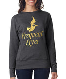 "Happy Halloween frequent flyer Womens SweatShirt Gold-SweatShirts-ANVIL-Heather Dark Grey-S UK 10 Euro 34 Bust 32""-Daataadirect"