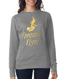 "Happy Halloween frequent flyer Womens SweatShirt Gold-SweatShirts-ANVIL-Heather Grey-S UK 10 Euro 34 Bust 32""-Daataadirect"
