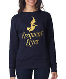 "Happy Halloween frequent flyer Womens SweatShirt Gold-SweatShirts-ANVIL-Navy-S UK 10 Euro 34 Bust 32""-Daataadirect"
