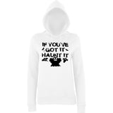 "Happy Halloween if you've got it haunt it Womens Hoodies Black-Hoodies-AWD-Arctic white-XS UK 8 Euro 32 Bust 30""-Daataadirect"