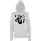 "Happy Halloween if you've got it haunt it Womens Hoodies Black-Hoodies-AWD-Ash-XS UK 8 Euro 32 Bust 30""-Daataadirect"
