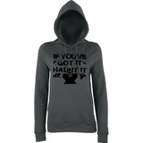 "Happy Halloween if you've got it haunt it Womens Hoodies Black-Hoodies-AWD-Charcoal-XS UK 8 Euro 32 Bust 30""-Daataadirect"