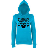 "Happy Halloween if you've got it haunt it Womens Hoodies Black-Hoodies-AWD-Hawaiian Blue-XS UK 8 Euro 32 Bust 30""-Daataadirect"
