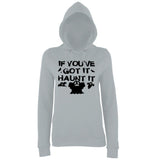 "Happy Halloween if you've got it haunt it Womens Hoodies Black-Hoodies-AWD-Heather Grey-XS UK 8 Euro 32 Bust 30""-Daataadirect"