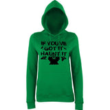 "Happy Halloween if you've got it haunt it Womens Hoodies Black-Hoodies-AWD-Kelly Green-XS UK 8 Euro 32 Bust 30""-Daataadirect"