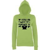"Happy Halloween if you've got it haunt it Womens Hoodies Black-Hoodies-AWD-Lime Green-XS UK 8 Euro 32 Bust 30""-Daataadirect"