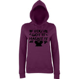 "Happy Halloween if you've got it haunt it Womens Hoodies Black-Hoodies-AWD-Plum-XS UK 8 Euro 32 Bust 30""-Daataadirect"