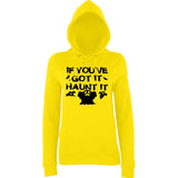 "Happy Halloween if you've got it haunt it Womens Hoodies Black-Hoodies-AWD-Sun Yellow-XS UK 8 Euro 32 Bust 30""-Daataadirect"