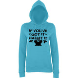 "Happy Halloween if you've got it haunt it Womens Hoodies Black-Hoodies-AWD-Turquoise Surf-XS UK 8 Euro 32 Bust 30""-Daataadirect"
