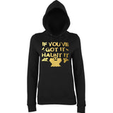 "Happy Halloween if you've got it haunt it Womens Hoodies Gold-Hoodies-AWD-Black-XS UK 8 Euro 32 Bust 30""-Daataadirect"