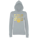 "Happy Halloween if you've got it haunt it Womens Hoodies Gold-Hoodies-AWD-Heather Grey-XS UK 8 Euro 32 Bust 30""-Daataadirect"