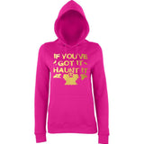 "Happy Halloween if you've got it haunt it Womens Hoodies Gold-Hoodies-AWD-Hot Pink-XS UK 8 Euro 32 Bust 30""-Daataadirect"