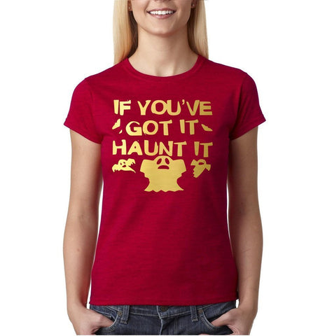"Happy Halloween if you've got it haunt it Womens T Shirts Gold-T Shirts-Gildan-Antique Cherry-S UK 10 Euro 34 Bust 32""-Daataadirect"