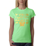 "Happy Halloween if you've got it haunt it Womens T Shirts Gold-T Shirts-Gildan-Mint Green-S UK 10 Euro 34 Bust 32""-Daataadirect"