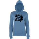 "Happy Halloween I'm here for the boos Womens Hoodies Black-Hoodies-AWD-Airforce Blue-XS UK 8 Euro 32 Bust 30""-Daataadirect"