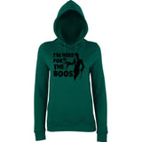 "Happy Halloween I'm here for the boos Womens Hoodies Black-Hoodies-AWD-Bottle Green-XS UK 8 Euro 32 Bust 30""-Daataadirect"