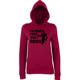 "Happy Halloween I'm here for the boos Womens Hoodies Black-Hoodies-AWD-Burgundy-XS UK 8 Euro 32 Bust 30""-Daataadirect"
