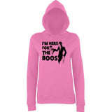 "Happy Halloween I'm here for the boos Womens Hoodies Black-Hoodies-AWD-Candyfloss Pink-XS UK 8 Euro 32 Bust 30""-Daataadirect"