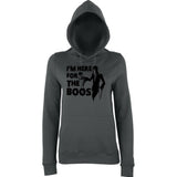 "Happy Halloween I'm here for the boos Womens Hoodies Black-Hoodies-AWD-Charcoal-XS UK 8 Euro 32 Bust 30""-Daataadirect"