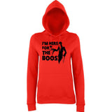 "Happy Halloween I'm here for the boos Womens Hoodies Black-Hoodies-AWD-Fire Red-XS UK 8 Euro 32 Bust 30""-Daataadirect"