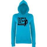 "Happy Halloween I'm here for the boos Womens Hoodies Black-Hoodies-AWD-Hawaiian Blue-XS UK 8 Euro 32 Bust 30""-Daataadirect"