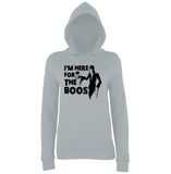 "Happy Halloween I'm here for the boos Womens Hoodies Black-Hoodies-AWD-Heather Grey-XS UK 8 Euro 32 Bust 30""-Daataadirect"
