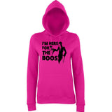 "Happy Halloween I'm here for the boos Womens Hoodies Black-Hoodies-AWD-Hot Pink-XS UK 8 Euro 32 Bust 30""-Daataadirect"