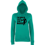 "Happy Halloween I'm here for the boos Womens Hoodies Black-Hoodies-AWD-Jade-XS UK 8 Euro 32 Bust 30""-Daataadirect"