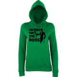 "Happy Halloween I'm here for the boos Womens Hoodies Black-Hoodies-AWD-Kelly Green-XS UK 8 Euro 32 Bust 30""-Daataadirect"
