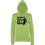 "Happy Halloween I'm here for the boos Womens Hoodies Black-Hoodies-AWD-Lime Green-XS UK 8 Euro 32 Bust 30""-Daataadirect"
