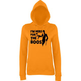 "Happy Halloween I'm here for the boos Womens Hoodies Black-Hoodies-AWD-Orange Crush-XS UK 8 Euro 32 Bust 30""-Daataadirect"