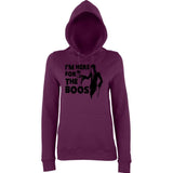 "Happy Halloween I'm here for the boos Womens Hoodies Black-Hoodies-AWD-Plum-XS UK 8 Euro 32 Bust 30""-Daataadirect"