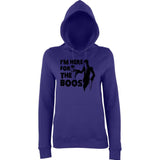 "Happy Halloween I'm here for the boos Womens Hoodies Black-Hoodies-AWD-Purple-XS UK 8 Euro 32 Bust 30""-Daataadirect"