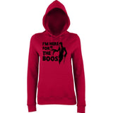 "Happy Halloween I'm here for the boos Womens Hoodies Black-Hoodies-AWD-Red Hot Chilli-XS UK 8 Euro 32 Bust 30""-Daataadirect"