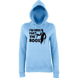 "Happy Halloween I'm here for the boos Womens Hoodies Black-Hoodies-AWD-Sky Blue-XS UK 8 Euro 32 Bust 30""-Daataadirect"
