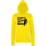 "Happy Halloween I'm here for the boos Womens Hoodies Black-Hoodies-AWD-Sun Yellow-XS UK 8 Euro 32 Bust 30""-Daataadirect"