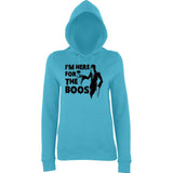 "Happy Halloween I'm here for the boos Womens Hoodies Black-Hoodies-AWD-Turquoise Surf-XS UK 8 Euro 32 Bust 30""-Daataadirect"